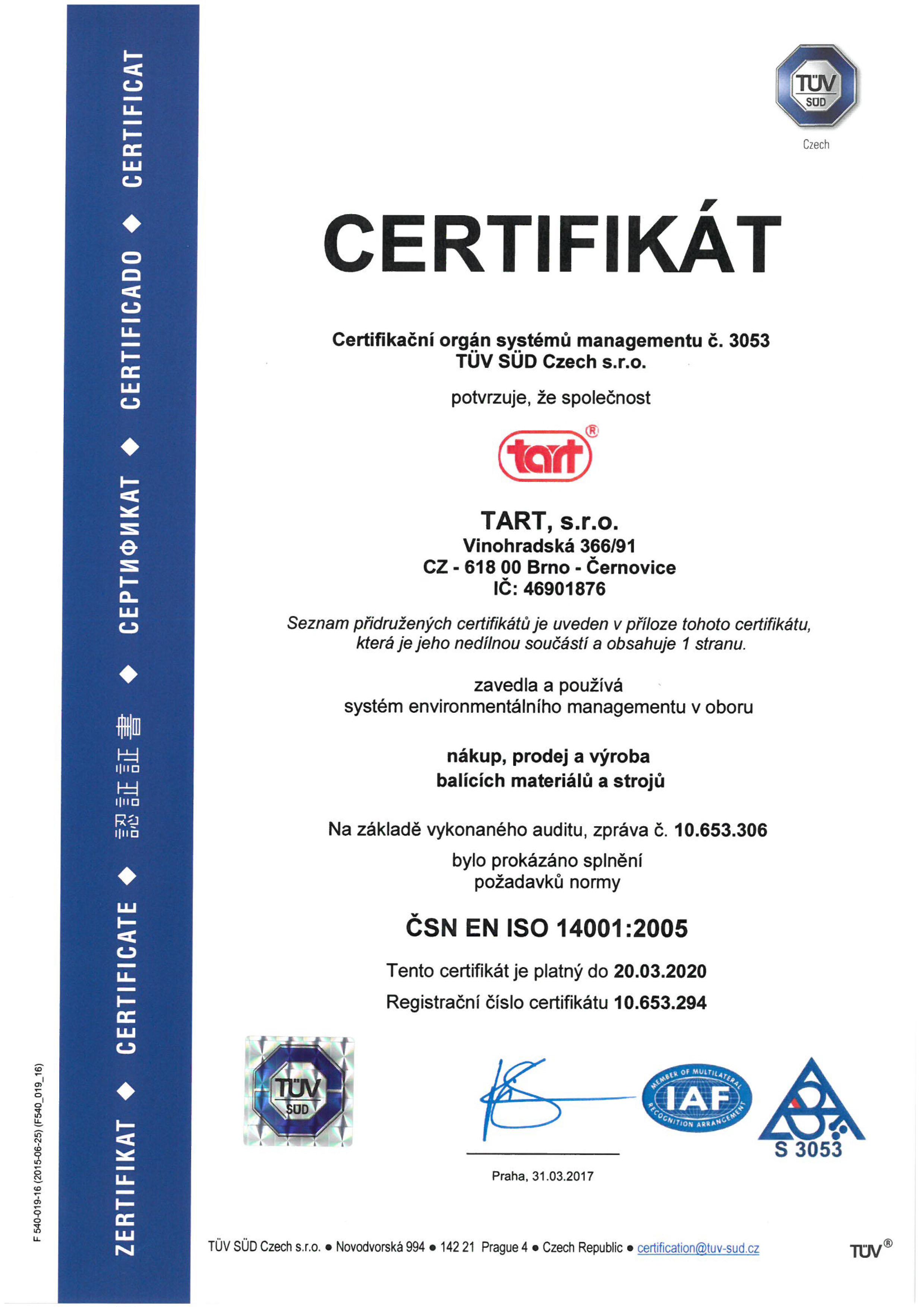 ISO 14001:2005 CZ TART