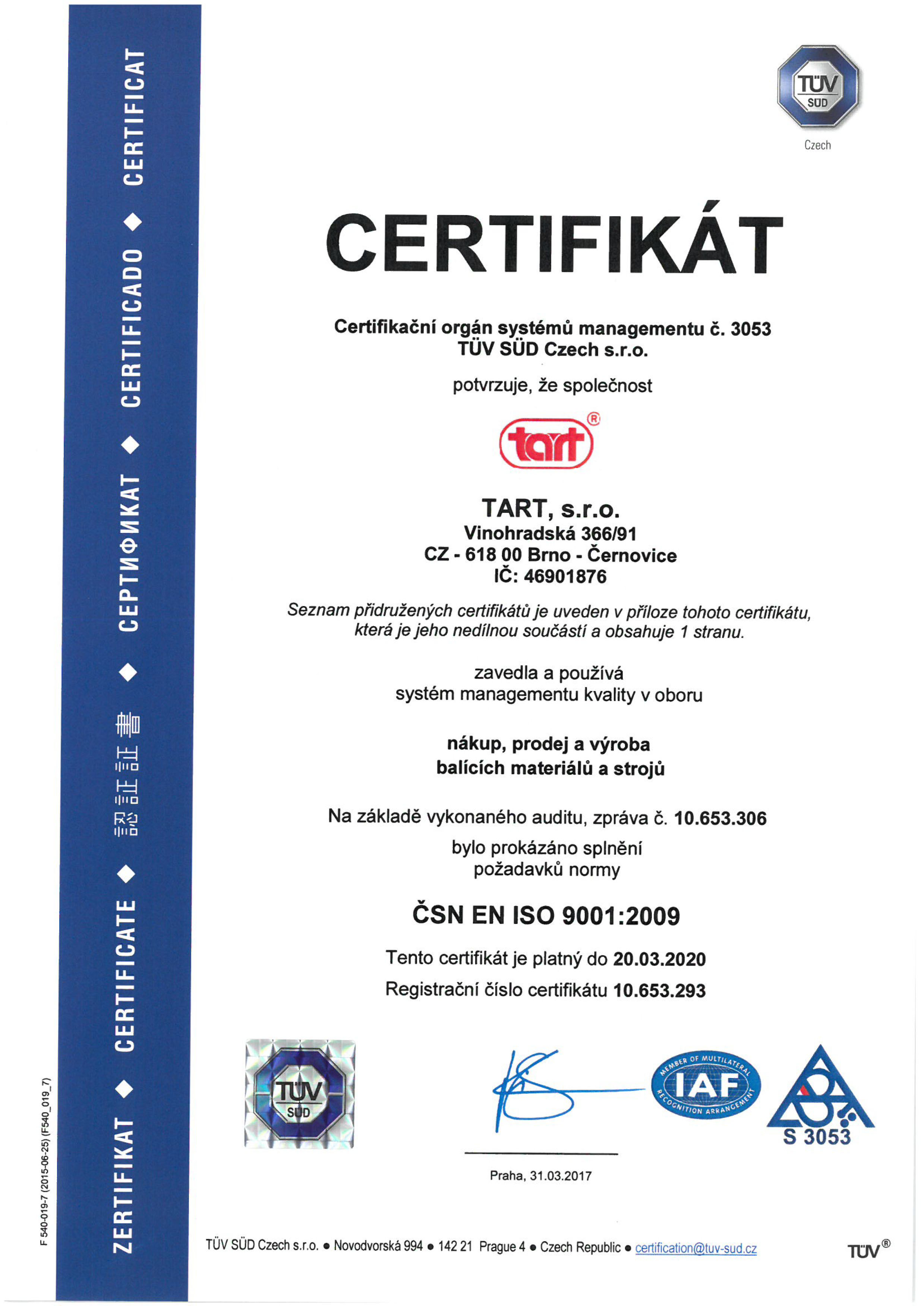 ISO 9001:2009 CZ TART